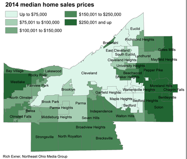 This map shows median home sales prices for 2014 across Cuyahoga County.