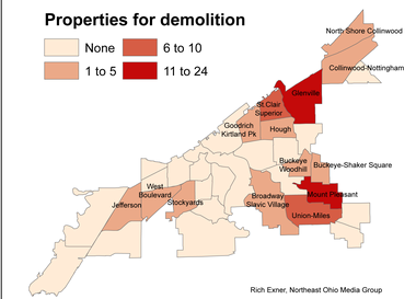 Most of the Cleveland properties scheduled for demolition in the first round of a new Cuyahoga County program are in East Side neighborhoods.