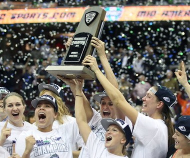 The University of Akron women's basketball celebrates winning the 2014 Mid-American Conference Women's Basketball Tournament at Quicken Loans Arena.