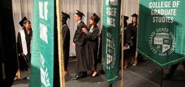 Commencement in 2013 at Cleveland State University.