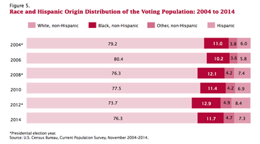 The share of minority voters nationally is smaller in years without presidential elections.