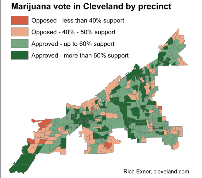 Issue 3 to legalize marijuana statewide won in 242 of Cleveland s 332  precincts. c6cabb9efd73