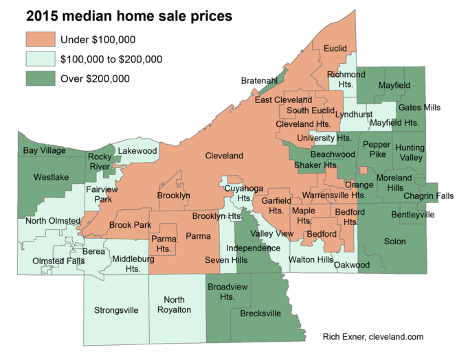 The dark green areas had the highest median single-family home prices in Cuyahoga County in 2015, all above $200,000.