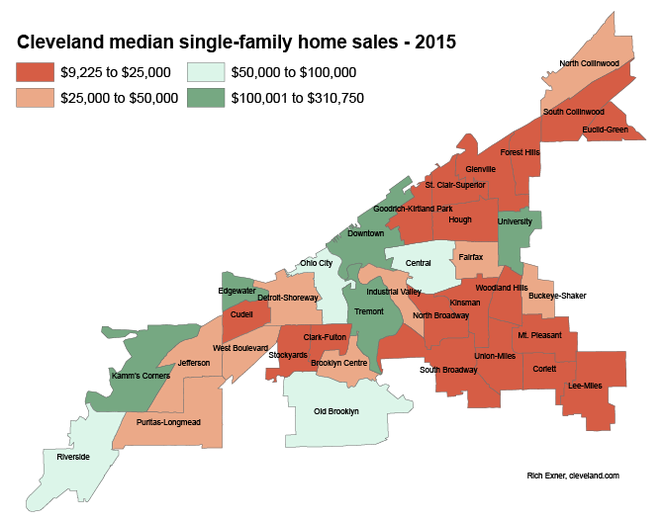 Cleveland's top median single-family home prices in 2015 were in the Edgewater, Kamm's Corners, Tremont and University neighborhoods, shown in this map in dark green.