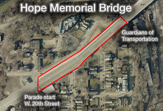 The designated parade route during the Republican National Convention begins at West 20th Street and extends east on the Hope Memorial Bridge. The area outlined is from the starting point to the first set of guardians of transportation.