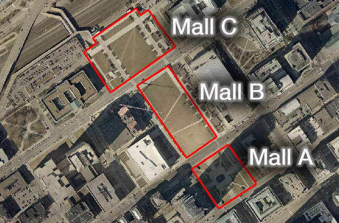 Malls A, B and C in downtown Cleveland are shown by the outlines.