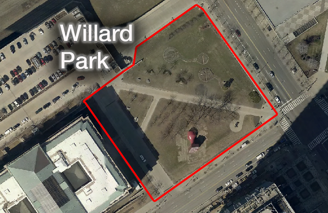 Willard Park, shown by the outline, is just east of Cleveland City Hall and is home to the Free Stamp.