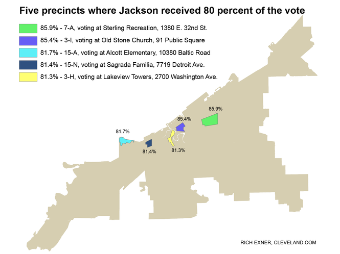 The unofficial vote tally shows Frank Jackson won these five precincts with at least 80 percent of the vote in each.