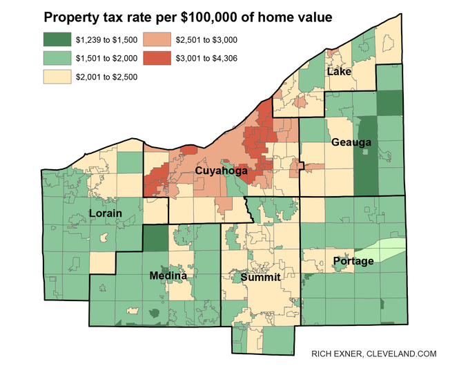 Though the median property tax rate in the seven-county Greater Cleveland area is just over $2,000 a year per $100,000 of home value, the rate is more than $4,000 in six areas in the eastern portion of Cuyahoga County.