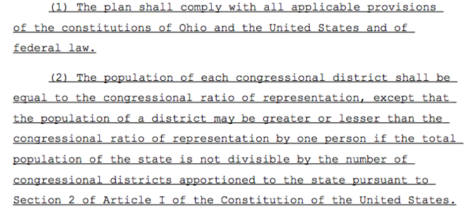 This section of a proposed Ohio Senate resolution for redistricting addresses the population size of each district.