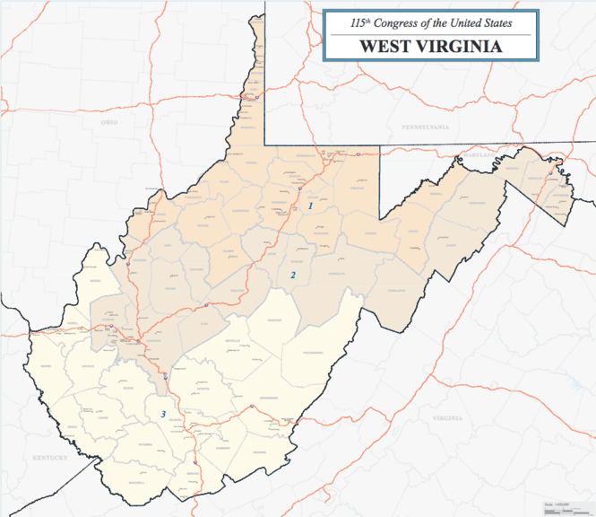 West Virginia's congressional map follows county lines.