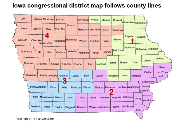Iowa's congressional map, created by a non-partisan state agency.