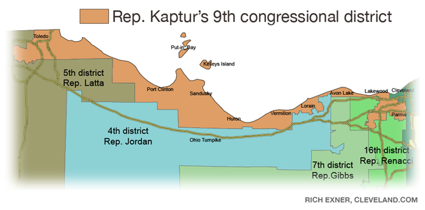 """Ohio's current 9th congressional district from Cleveland to Toledo is known as the """"snake on the lake."""""""