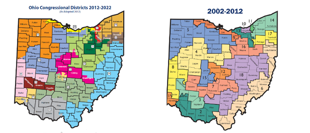 Ohio's congressional districts for 2002-10 and 2012-20.