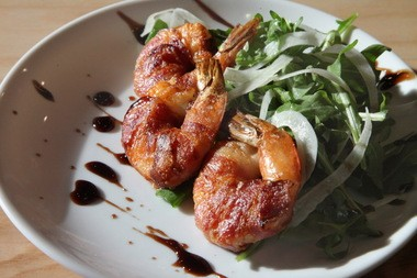 Crispy, salty and juicy: the Pancetta-Wrapped Shrimp at Humble.