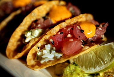 The Ahi Poke Tacos, a popular appetizer on Cleveland Chop's list of starters.