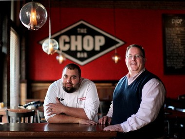 Executive Chef David Gutfranski, left, and managing partner Alan Kneidel, right, are at the helm of Cleveland Chop in the warehouse district in downtown Cleveland.