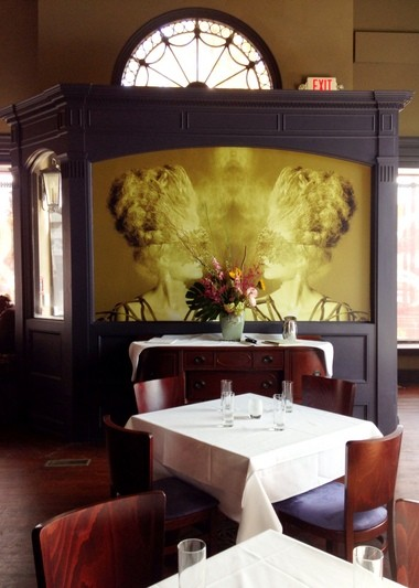 One facet of the dining room at Edwins Restaurant, in Cleveland's Shaker Square area. The lion's share of design elements were donated by Cleveland individuals and businesses.