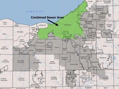 The Northeast Ohio Regional Sewer District serves parts of 62 communities. The green area on this map is served by combined storm water and sanitary sewers that have been hazardous to the environment for decades.