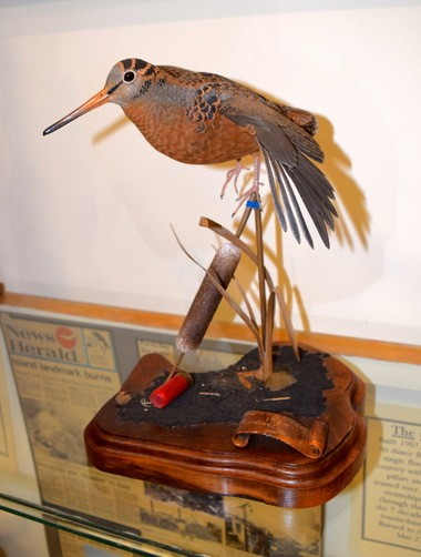The late Bob Franta, a renowned decoy carver from Amherst, Ohio, meticulously created this woodcock in 1984. It is now part of a decoy collection owned by Dan Savage. (D'Arcy Egan)