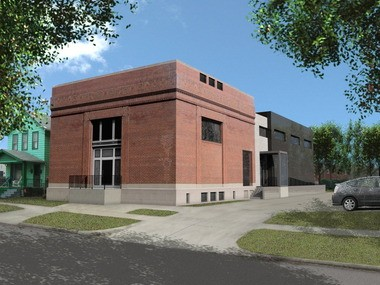 A rendering of the expanded Transformer Station shows how it looks today - minus the greenery and sunlight.