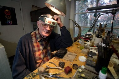 The master in his studio: John Paul Miller at his suburban Cleveland home in 2010.