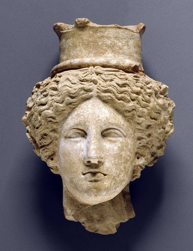 """Head of a Goddess,"" 350-300 bc. Sicily, owned by the J. Paul Getty Museum, is one of 150 works in ""Sicily: Between Greece and Rome,"" a show scheduled to open at the Cleveland Museum of Art on Sept. 29. Both museums announced Wednesday that Sicily had cancelled the show, but Sicily may be rethinking."