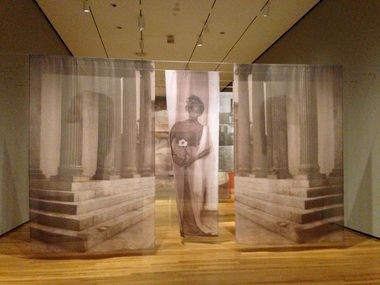 "In ""Ritual and Revolution,"" 1998, Carrie Mae Weems printed photographic images on suspended scrims, through which a viewer walks as if passing through layers of history and memory."