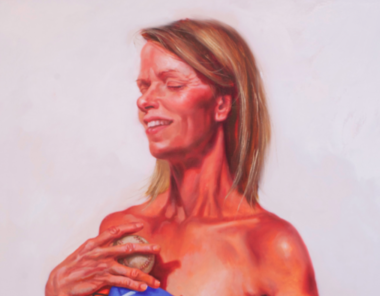 """A detail of """"Kim the Brave One,"""" by Judy Takacs, part of her new """"Chicks with Balls"""" series, which goes on view Friday at BAYarts."""