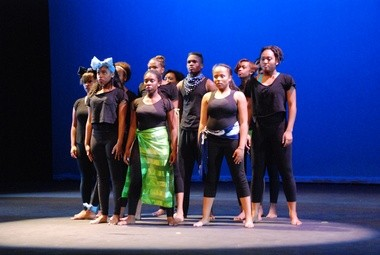 Participants in the Young Audiences ArtWorks Summer 2013 Culminating Event perform a dance at the Tri-C Metro campus.