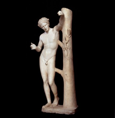 An ancient Roman sculpture of the Apollo Sauroktonos, or Apollo the Lizard Slayer, from the Louvre Museum in Paris. Comparisons between this Apollo and a bronze purchased by the Cleveland Museum of Art prove that the Cleveland version is the earlier ancient Greek original on which the Roman version is based.