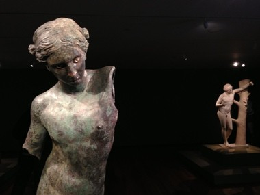 """The Cleveland Museum of Art's """"Apollo the Python Slayer,"""" left, will go on view Sunday in a new exhibition that will include two later Roman copies, one of which is at right."""