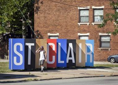 """The """"Doors of St. Clair"""" installation is part of an effort to rebrand the upper St. Clair neighborhood."""