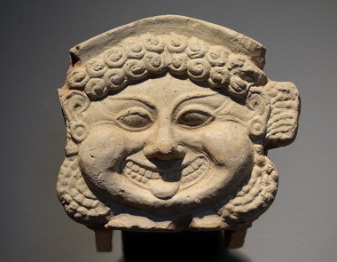 """An """"antefix"""" once served as an architectural ornament on an ancient Sicilian building."""