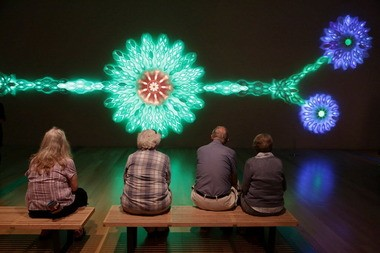 """ArtPrize patrons gaze at """"Sessilanoid,"""" a sculpture by James Peterson installed temporarily at the Grand Rapids Art Museum. By touching a button in the piece, viewers could change its colors."""