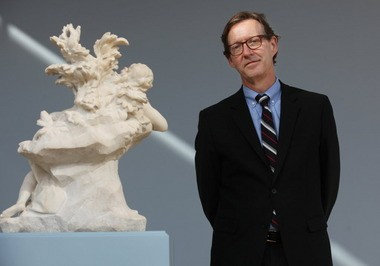 """Fred Bidwell at the Cleveland Museum of Art Tuesday, with """"Sleeping Endymion,"""" 1716, by Agostino Cornacchini."""