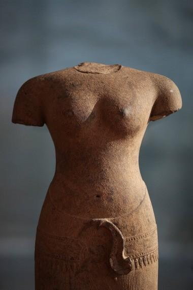 Standing Female Figure, 1050s, Sandstone, Cambodia, Angkor, Baphuon