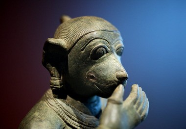 One isn't supposed to laugh in the presence of god, but in this 11th century Chola bronze, Hanuman, the monkey hero of Hindu lore, can't help himself, being a monkey.