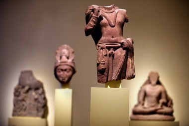 Inside the new West Wing galleries: Mathura-style sculptures of the Kushana kingdom.