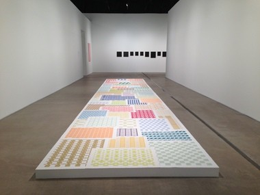 Michelle Grabner's paper weaving installation at the Museum of Contemporary Art Cleveland.