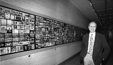 Walter Leedy at an exhibition of his Cleveland postcard collection in 1999.