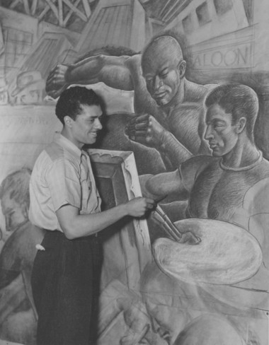 Elmer Brown painting a WPA mural in the late 1930s.