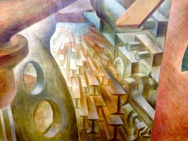 Rivers of I-beams in Louis Grebenak's 1940 Valleyview mural, now at CMHA headquarters.