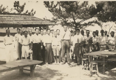 Sherman Lee's height makes him stand out in this picture taken during his service as a Monuments Man in Japan after World War II.