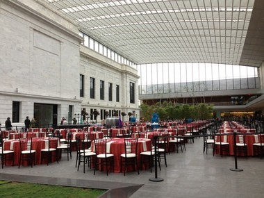 The Cleveland Museum of Art atrium was set up for a wedding on a recent Saturday afternoon.