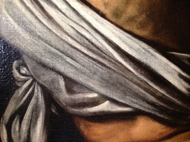 Highlighted areas in the Cleveland Museum of Art's Caravaggio that were painted with lead white are more stable and less cracked than areas in which the artist used dark pigments.