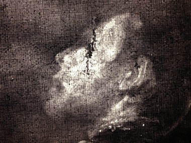An X-Ray shows a rip through the eye of the Roman soldier in the Cleveland Museum of Art's Caravaggio - a damaged area covered up by subsequent repairs.
