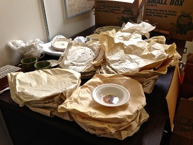 Viktor Schreckengost ceramics lay partially unpacked in a storeroom at Cleveland State University's Rhodes Tower on Tuesday.