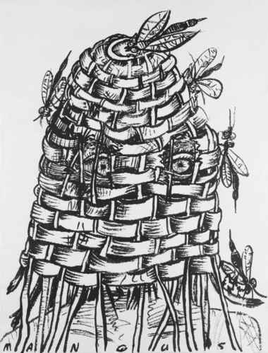 """Out of his mind, so to speak: """"Basket Head,"""" 1988, a typically intense drawing by Kirk Mangus."""