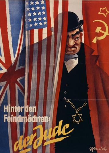 """The Nazi propaganda poster, """"Behind the Enemy Powers: the Jew,"""" represents the """"Jewish financier"""" manipulating the Allies, Great Britain, United States and Soviet Union. On view in the Maltz Museum exhibition """"State of Deception,"""" the poster shows how Nazi propagandists frequently depicted """"the Jew"""" as a conspirator plotting world domination by acting behind the scenes in nations at war with Germany."""